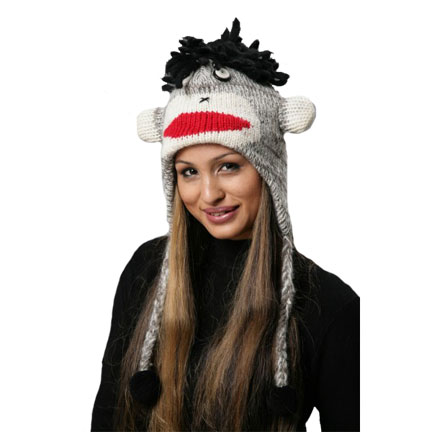 Black Sock Monkey Knitted Hat-0