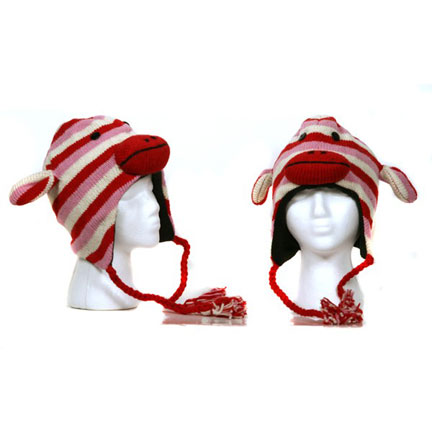 Red Stripe Monkey Knitted Hat-0