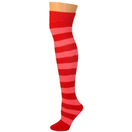 2 Stripe Socks - Red/Pink-0