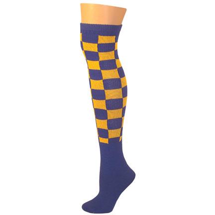 Checkered Socks - Blue/Gold-0