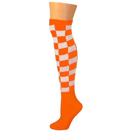 Checkered Socks - Orange/White-0
