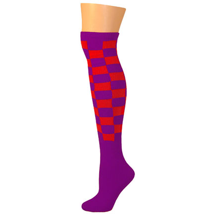 Checkered Socks - Purple/Red-0