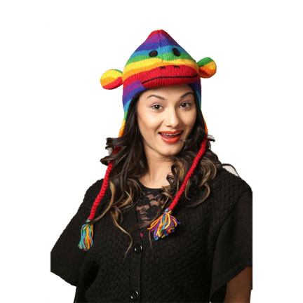 Rainbow Monkey Knitted Hat-0