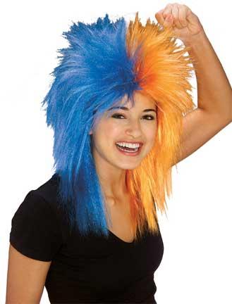 Sports Fanatic Wig - Blue/Orange-0