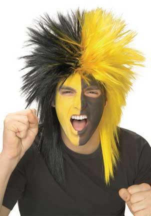 Black/Yellow Sports Fanatic Wig-0