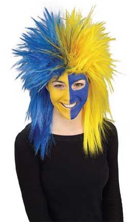 Blue/Yellow Sports Fanatic Wig-0