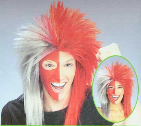 Sports Fanatic Wig - Scarlet/Grey-0