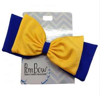 Pom Hairbows - Royal Blue & Yellow Gold-0