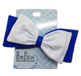 Pom Hairbow - Royal Blue & White-0