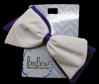 Pom Hairbow - Purple & White-0