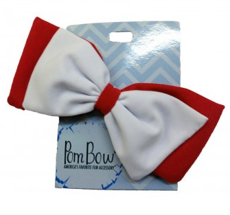 Pom Hairbows - Red & White-0