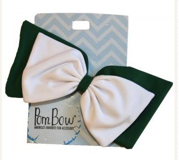 Pom Hairbow - Bottle Green & White-0
