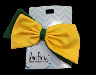 Pom Hairbow - Bottle Green & Gold-0