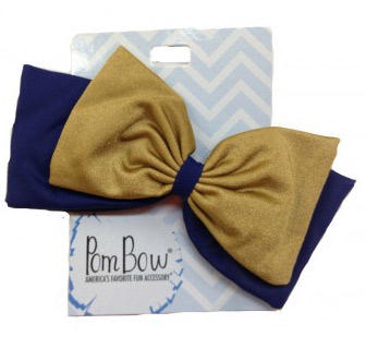 Pom Hairbow - Navy & Old Gold-0