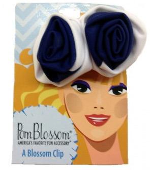 Pom Blossom Navy & White Team Color Hair Clip-0