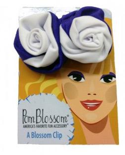 Pom Blossom Purple & White Team Color Hair Clip-0