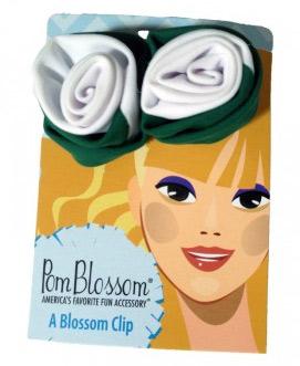 Pom Blossom Bottle Green & White Team Color Hair Clip-0