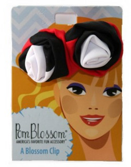 Pom Blossom Red, Black & White Team Color Hair Clip-0