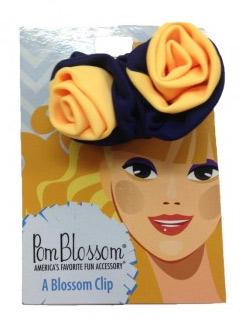 Pom Blossom Navy & Sunshine Yellow Team Color Hair Clip-0