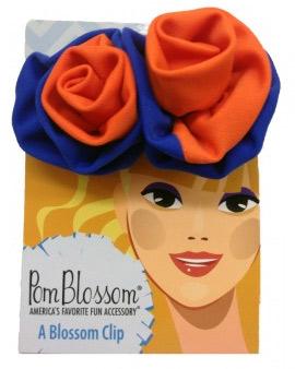 Pom Blossom Fanta Orange & Royal Blue Team Color Hair Clip-0