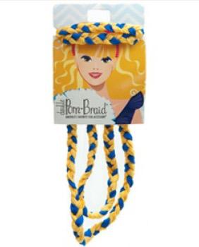 Pom Braid Headband - Royal Blue & Yellow Gold-0