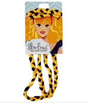 Pom Braided Headband - Black & Yellow Gold-0