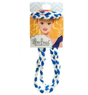 Pom Braided Headband - Royal & White-0