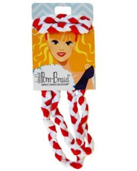 Pom Braided Headband - Red & White-0