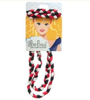 Pom Braided Headband - Black Red & White-0