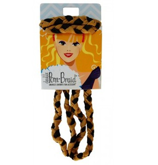 Pom Braided Headband - Black & Old Gold-0