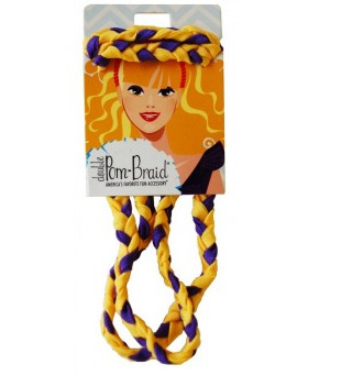 Pom Braided Headband - Purple & Yellow Gold-0