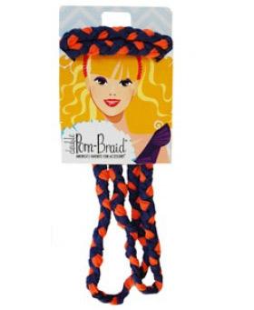 Pom Braided Headband - Fanta Orange & Navy-0