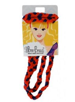 Pom Braided Headband - Navy & Red-0