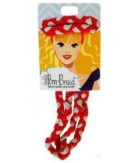 Pom Braided Headband Red & Perla Grey-0