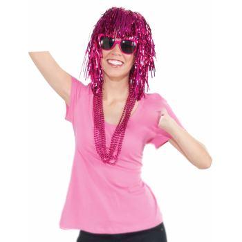 Team Color Tinsel Wig - Pink-0