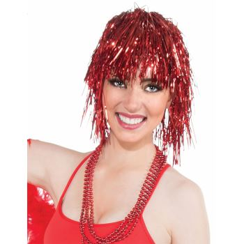 Team Color Tinsel Wig - Red-0