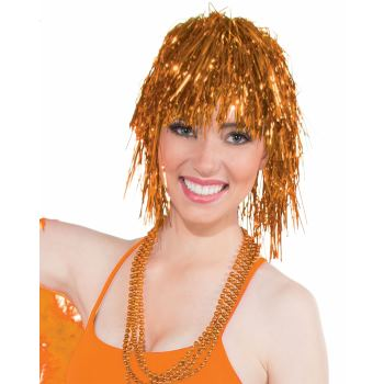 Team Color Tinsel Wig - Orange-0
